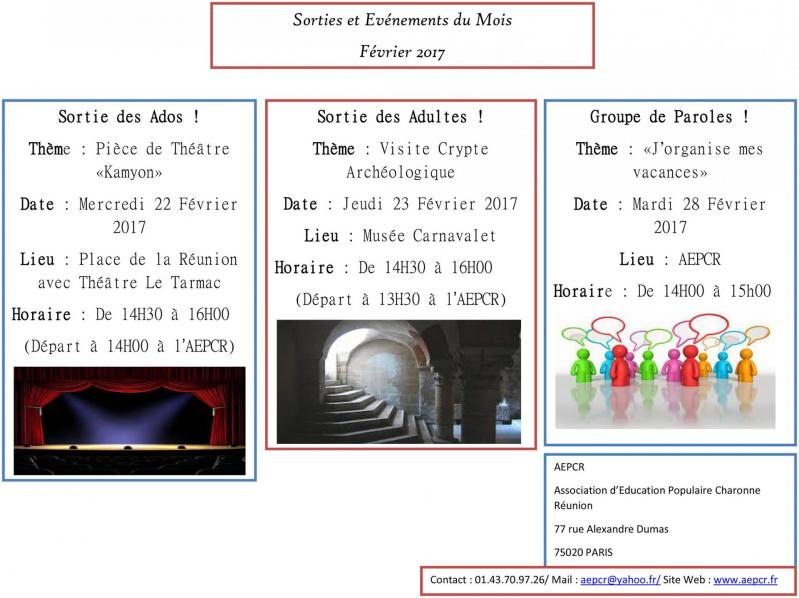Sorties evenements fevrier 2017